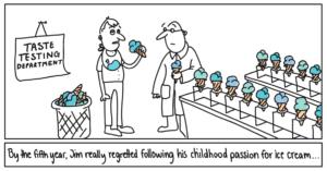 Viiendaks aastaks hakkas Jim kahetsema, et oli jälginud oma nooruspõlve unistust saada jäätise degusteerijaks...